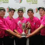 Australia edged out New Zealand by one shot to win the inaugural Ten Nations Cup at Kingswood Golf Estate in George; from left to right: David Nable (manager); Ryan Ruffles; Brady Watt; Lucas Herbert and Geoff Drakeford; credit Pieter Els.