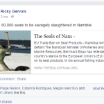 Ricky Gervais joins global outcry against Namibia seal hunt