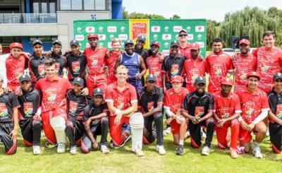 Teams at the end of the match during day 3 of the Coca-Cola T20 Schools National Finals at Tuks Oval on March 17, 2019 in Pretoria, South Africa. (Photo by Sydney Seshibedi/Gallo Images)
