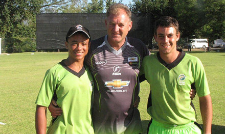 Jean Heunis from Langenhoven Gimnasium (left) and Arno Moolman (Oakdale Agricultural High School) that represented SWD at the Coca Cola Khaya Majola Week that was hosted in Potcefstroom was selected for the Chevrolet Warriors Cubs team that recently participated in the Cricket South Africa Franchise Cubs week in Stellenbosch. With them is the coach, Adrian Birrel who was also the coach of Ireland during the 2007 ICC World Cup in the West Indies.