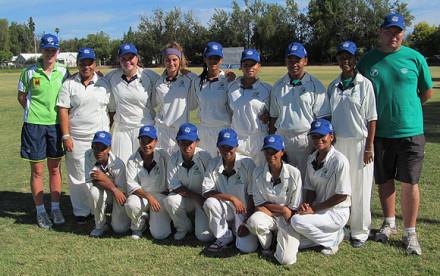 The SWD U/19 Girls team that is participating in the Cricket South Africa Girls U/19 week in Oudtshoorn are:  Front row (L-R): Michaela Andrews, Caryn Reans, Odete Anthony, Jenilee Manual, Kaylene Abrahams, Anja Steyn.  Back row (L-R): Annemie Koen (Coach), Jody Hartzenberg, Samarie Prinsloo, Jo-Anne Cloete, Leandra Sauls, Andrea Saayman, Jane Winster, Caryn Hendricks, Theo Ferreira (Assistant Coach)