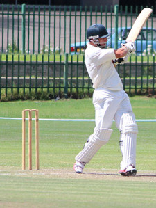 Glen Addicot in action in superb innings of 145 in which he hit 10 x sixes and 10 x fours.