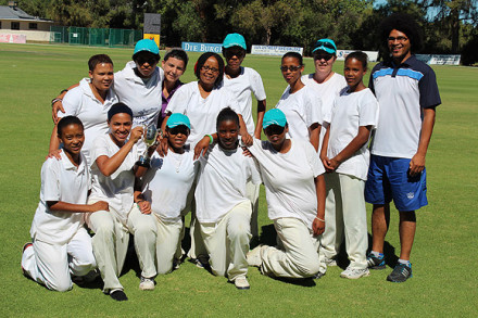 The Oudtshoorn Women's team that won the SWD Women's League competition are:  Back Row: Fransisca Baartman, Michelle Afrika, Mary-Anne Tiemie, Geneveve Julies, Berenice Goliath, Bronwin Plaatjies, Carina Crause, Michaela Andrews and Desmond Anthony (coach).  Front Row: Jenna Leigh Manuel, Marnizelle Rabie, Yolandi Saaiman (captain), Kaylene Pypers and Monique Booysen