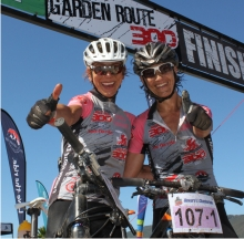 A delighted Ischen Stopforth (left) and Yolande de Villiers after winning the women's category of the three-day Rocky Mountain Garden Route 300 which finished in Knysna on Sunday. Photo: Coetzee Gouws/fullstop