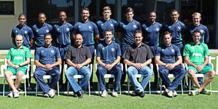 The SWD team that defeated Northerns in a CSA Twenty20 match on Sunday are:  Back Row: Justin Jordaan, Douglas Baartman, Luthando Mnyanda, Waldo Lategan, Ruan Stander, Gareth Dukes, Brendon Louw, Marcello Piedt and Kobus Scholtz.  Front Row: Louise Liebenberg (Physiotherapist), Pieter Stuurman, Rudy Claassen (President), Ross McMillan (Captain), Albertus Kennedy (CEO), Glen Addicot and Garry Hampson (Coach)