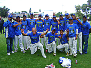 The victorious team of Union Stars after winning the Pietersen Trophy as winners of the SWD Cricket Board Premier League. Union Stars defeated Harlequins Forces by 45 runs in a low-scoring final.