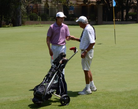 George teenager, Jovan Rebula, and grandfather, Neels Els, at the recent SA Matchplay Champs