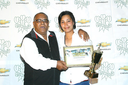 Gail Abrahams, received the Award as Women's Player of the Season from Mr Roderick Robertson Chairperson of the SWDCB Women's committee.