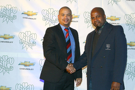 The Vice-President, Mr John Komanisi (right), who served for his first term as a member of the SWDCB Executive Committee, received his blazer from Mr Rudy Claassen (President)