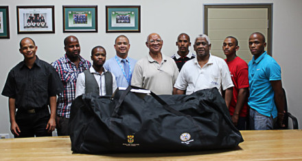 Beneficiaries of the SWD Cricket Board Club Development program that is funded by the Western Cape Department of Cultural Affairs and Sport (DCAS) recently received cricket equipment as part of the project. Present at the handing-over were Shael Laminie (Ramblers Cricket Club), John Komanisi (Vice-President SWDCB), Mandilikhe Matika (DCAS Regional Coordinator), Rudi Claassen (President SWDCB), Henry Murphy (Calitzdorp Young Stars CC), Nceba Futwa (Bongolethu Cricket Club), Clive Pretorius (Heidelberg United Cricket Club), Pieter April (Ladismith Cricket Club) and Sicelo Ngxanga (DCAS Federation Officer for Club Development program)