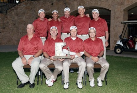 Central Gauteng ,the winners of the 2013 INDWE SA Senior Amateur Inter-Provincial at Euphoria Golf Estate. From left to right (front) – Marinus Weiss (manager),Schalk Naude (captain), Colin Haywood, Stuart Till. From left to right (back) – Jock Wellington, Lawrence Franklin, Gavin van Aswegen, Richard Bruyns and David Stratton.  PHOTOS: credit Annemé, Milk Photography