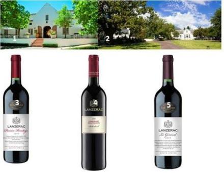 1.       Lanzerac Tasting Room.  2.       Lanzerac Wine Estate & Hotel.  3.       Lanzerac Pionier Pinotage 2010.  4.       Lanzerac Cabernet Sauvignon 2011.  5.       Lanzerac Le Général 2009