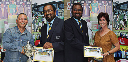 At the Umpires Awards Function Mr Faizel Samsoodien receives the award for Umpire of the Season (Premier League) from SWDCB President, Mr Rudy Claassen (left) and (right) Mr Faizel Samsoodien (President of SWD Cricket Umpire's Association) hands over the award for Administrator of the Year to Ms Ruth van der Merwe.