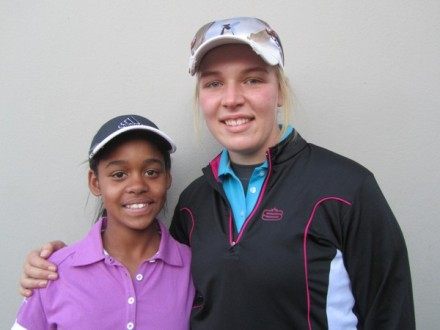 Boland Junior Bianca Theron with her team mate, fellow junior Crystal Beukes, who is making her 72 Holes Team Championship debut for Boland; credit WGSA