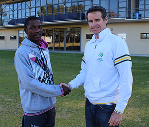 SWD coach, Garry Hampson welcomes Lonwabo Rodolo to the SWD camp