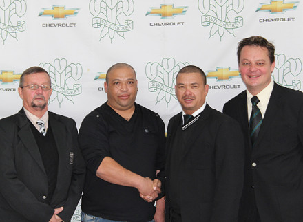 Mr Hein Hoogbaard (2nd from left), the chairperson of Slangrivier Cricket Club, is welcomed as a new affiliated club to the SWD Cricket Board by Rudy Claassen (President SWD Cricket Board). On the left is Mr Dave van der Walt (an Executive Committee member of the SWD Sport Council and Western Cape Sport Confederation) and Albertus Kennedy (CEO SWD Cricket Board)