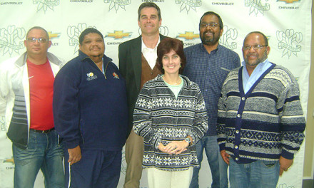 Mr Faizel Samsoodien - 2nd from the right - was recently re-elected as Chairperson of the SWD Cricket Umpires Association Annual General Meeting that was held in Oudtshoorn. The rest of the Executive Committee as elected are Werner Claassen (Secretary), Levesto le Roux (Additional Member), Jean Neethling (Vice-Chairperson), Samoodien and Moses Carolus (Treasurer)