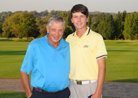 Jovan Rebula and his grandfather Neels Els during the Sanlam SA Amateur Championship at Country Club Johannesburg; credit Dale Boyce