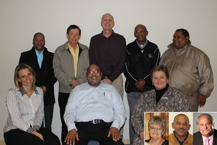 Back: Mr Neville De Waal(Bitou community), Cllr Richard Dawson(Knysna Municipality), secretariat Dr Terence Marshall, Mr Jonathan Jantjies(Van Wyksdorp community), Cllr Hyrin Ruiters(Kannaland Municipality), Ms Ansie Sunshine(George community), Mr Cllr Henry Mcombi(Chairperson Eden District Municipality) and Dr Schumann(Eden District Manager). INSERT: Cllr Joan Prins(Hessequa Municipality), Cllr Jeremia Goliath(Oudtshoorn Municipality)  and Cllr Flip du Plessis(Mossel Bay Municipality).
