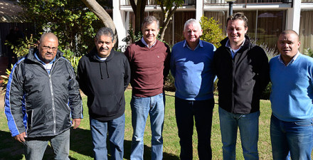 Mr Corrie van Zyl (3rd from the left), the General Manager at Cricket South Africa visited the CSA Groundsmen conference that was hosted by the SWD Cricket Board in Oudtshoorn. With him are Reginald Afrika (Groundsman at the Recreation Ground in Oudtshoorn), Mike Gajjar (Manager Cricket Operations, Cricket South Africa), Peter Muzzel (Grounds Consultant, Cricket South Africa) Albertus Kennedy (CEO SWD Cricket Board) and Rudi Claassen (President SWD Cricket Board)