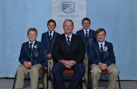 Defending champions Glenwood House; from left to right back – Luhan Bester and JP van der Walt. Left to right front – Ben van Wyk, Constantyn van Wyk (manager) and Norman Seton. Credit Deon Smit / Immanuel Photography.