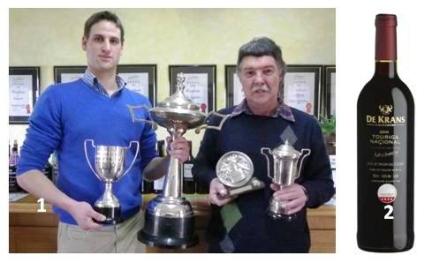 .       Winemaker, Louis van der Riet and viticulturist, Stroebel Nel, with the trophies.  2.       De Krans Touriga Nacional 2010