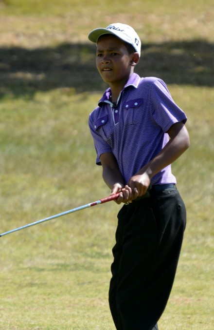 Tristan Galant from the South African Golf Development Board took the 36-hole lead at the Nomads Under-13 Championship at Fish River Sun Country Club; credit Deon Smit / Immanuel Photography.