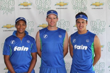 Garry Hampson - the SWD coach - with Glenton Stuurman (left) and Hanno Kotze (right) who will make their debuts for SWD when they will travel to Windhoek next weekend to take on Namibia in the Cricket South Africa provincial Challenge competition.