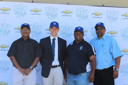 Capping U/19 (Coca Cola Khaya Majola Week); Jacques van Aswegen (assistant coach), Thomas Marrow (captain), André du Plessis (coach) and Eugene du Plessis (team manager) of the SWD u/18 team for the Coca Cola Khaya Majola U/18 week in Durban.