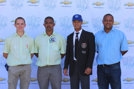 Capping U/17;Jacques Els (team manager), Johan Bruinders (coach), Eldin Rossouw (captain) and Vernon Seconds (assistant coach) of the SWD u/17 team for the CSA National U/17 week in the Boland.