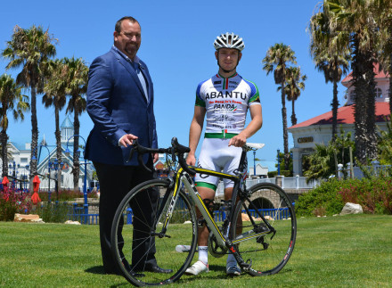 Port Elizabeth-based professional cyclist Kellan Gouveris, who rides for Team Abantu, and The Boardwalk Casino and Entertainment World general manager Brett Hoppé are looking forward to welcoming cyclists to The Herald VW Cycle Tour from January 31 to February 2. Photo: Judy de Vega