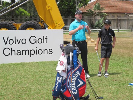 South Africa's Branden Grace conducted a development clinic with 30 learners from the SAGDB at Durban Country Club ahead of the 2014 Volvo Golf Champions; credit Volvo in Golf.