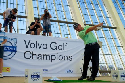 Louis Oosthuizen hits the target in the Moses Mabhida Stadium ahead of the Volvo Golf Champions