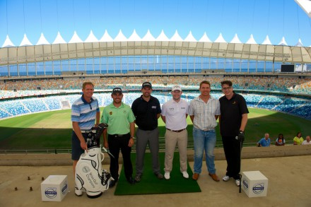 Former South African cricketer Shaun Pollock, Louis Oosthuizen, Padraig Harrington, Branden Grace, former Springbok Captain John Smit, and radio presenter Darryn Maule in the Moses Mabhida Stadium in Durban