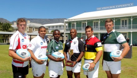 Captains of six of the clubs that will face each other in the pool stages of this year's Cell C Community Cup pose with the iconic Gold Cup trophy during a photo-call at the Springbok Experience Museum in Cape Town on Tuesday. From left to right: Andre Coetzee (Wesbank), Geoffrey Allies (Roses United), Lubabalo Mpongoshe (Spring Rose), Elroy Ligman (Gap Management Despatch, defending champions), JG Giliomee (Hamilton) and Francois Robbertse (G5 Metals Brakpan).  Photo: Carl Fourie/Gallo Images.
