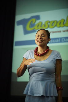Disability activist Marlene le Roux delivers the keynote address at the recent Casual Day awards breakfast.