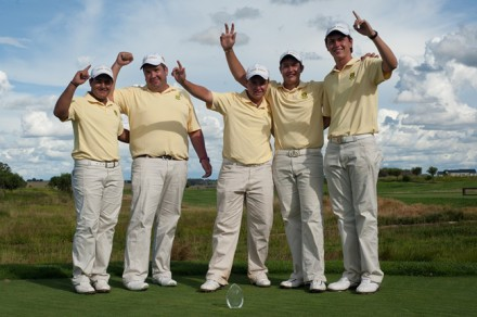 The South African juniors defeated the French in a two-day Test at Serengeti Golf and Wildlife Estate. From left to right: Hennie du Plessis (Limpopo), team manager Eden Thompson, Kyle McClatchie (Ekurhuleni), Thriston Lawrence (Mpumalanga) and Jovan Rebula (Southern Cape); Credit Dale Boyce