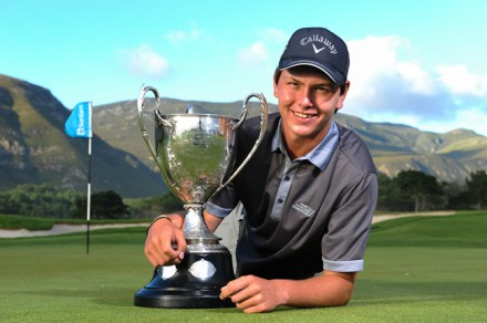 Jovan Rebula, nephew of Ernie Els, with the Proudfoot Trophy for his victory in the 36-hole qualifying tournament for this week's Sanlam SA Amateur Championship at Hermanus Golf Club. Credit: Roger Sedres/Image SA.
