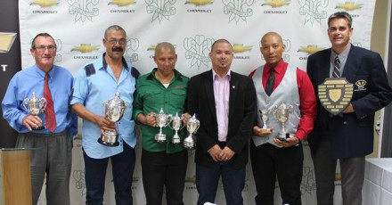 The recipients of awards are Gawie Krige (Runner-Up Premier League), James Phillips (Winner:  Premier League), Marcell May (Most Improved Umpire and Runner-Up in the Promotion and Reserve League), Rudy Claassen (President SWD Cricket Board), Hendrik Pieterse (Keenest Umpire) and Jean Neethling (Administrator of the Season)