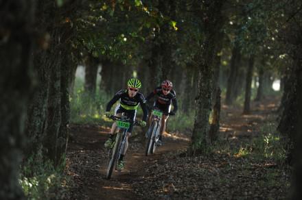 Darren Lill (Cannondale-Blend) leads Hanco Kachelhoffer (Karan Beef) through the Oak Maze singletrack during last year's Old Mutual joBerg2c mountain bike race. The nine-day mountain bike race starts just outside Johannesburg on April 25. Photo: Kelvin Trautman