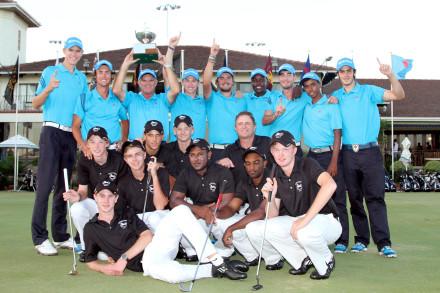 The victorious Gauteng North team, winners of the 2014 SA U-23 Inter-Provincial Championship, and B-Division winners KwaZulu-Natal at Royal Durban Golf Club; credit Terry Haywood.