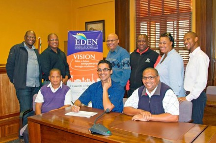 During the signing of the 2014/2015 Workplace Skills Plan for the Eden staff are fltr (front, sitting) Mr Micheal April (Samwu), Cllr Tertuis Simmers (Eden's Portfolio Chairperson: Corporate Services), Mr Proy Koopman (Imatu) with (fltr, back) Mr Douglas Baartman (Samwu), Mr Reginald Salmons (Coordinator: Skills Development), Mr Calvyn Scheepers (Assistant Manager: Human Resources), Mr Willie Nkasayi (Samwu), Ms Moseline Mouton (Samwu) and Mr Richard Dyantyi (Samwu).