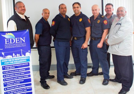 Eden Firefighters who represented the district during the team challenge. Fltr: Clive Africa – Executive Manager: Management Services, Ryno Wildeman, Branville Abrahams, Emile Conrad, David van Niekerk, Gerhard Otto – Manager: Emergency Services and Cllr Henry Mc Combi – Portfolio Chairperson: Management Services.