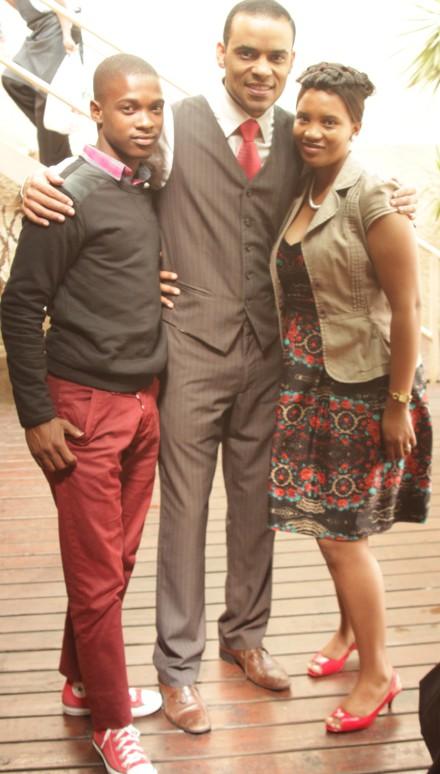 Thabiso Newman and Samantha Pienaar with actor Theodore Jantjies (Xander in 7de Laan).