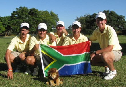 South Africa celebrates winning the All-Africa Junior Golf Championship for a 16th consecutive time at Chainama Hills Golf Club in Lusaka, Zambia. From left to right - Altin van der Merwe, Hennie du Plessis, team manager Kevin Stone, Kyle McClatchie and Jovan Rebula; credit Lali Stander.
