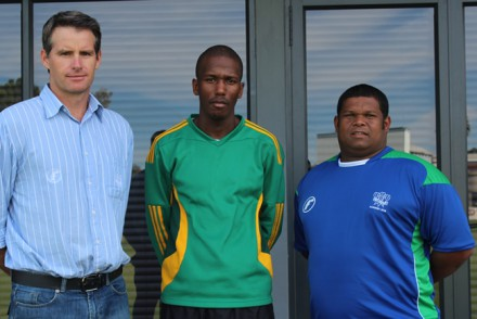 Garry Hampson (left), Coaching Manager of the SWD Cricket Board and André du Plessis (right), High Performance Coach welcomes Siyabulela Nkosana (centre) as the new Elite Coach for the Black African Cricket Development program in the province