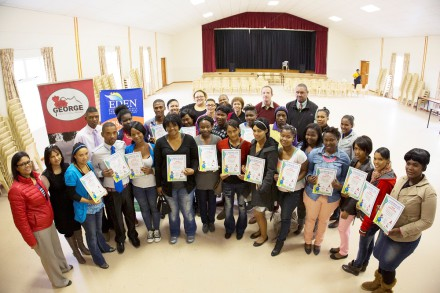 Proud HIV and Substance abuse Peer Educator Certificate recipients shortly after the official handover ceremony with the Eden-and George role players.