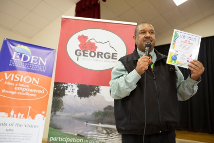 Mr Clive Africa, Executive Manager - Management Services, thanking George Municipality for working together to help with the success of the Peer Educator program.