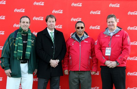 Johnny Cardoso (Coca-Cola South Africa), Jurie Roux (CEO SARU), Dr. Ivan Meyer (Provincial minister of finance for the Western Cape) and Ray Bjierre (Peninsula Beverages Company General Manager)