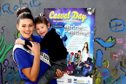 Miss SA Rolene Strauss spreads the love for Casual Day. With her is Zy-Ann Swanepoel, a learner at Alma School in Pretoria